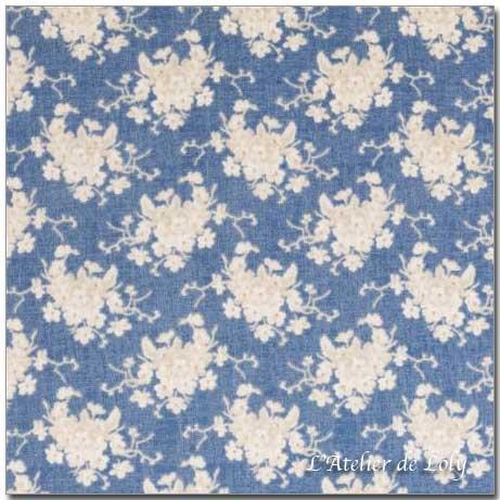 Tissu Tilda - White Flower Blue