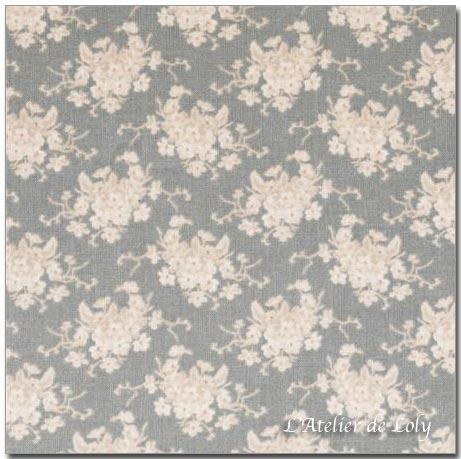 Tissu Tilda - White Flower Greygreen